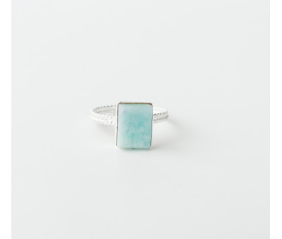 Bague Argent rectangle Amazonite